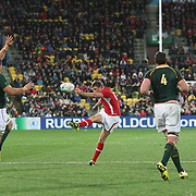 Heartbreak for Rhys Priestland, Wales, who misses a drop goal attempt during South Africa's a 17-16 victory over his side during the Wales V South Africa, Pool D match during the Rugby World Cup in Wellington, New Zealand,. 11th September 2011. Photo Tim Clayton
