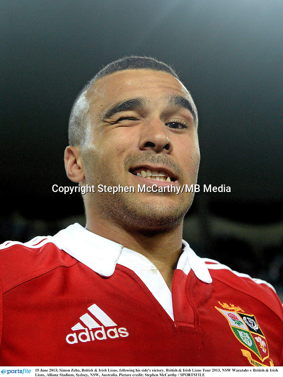 15 June 2013; Simon Zebo, British & Irish Lions, following his side's victory. British & Irish Lions Tour 2013, NSW Waratahs v British & Irish Lions, Allianz Stadium, Sydney, NSW, Australia. Picture credit: Stephen McCarthy / SPORTSFILE