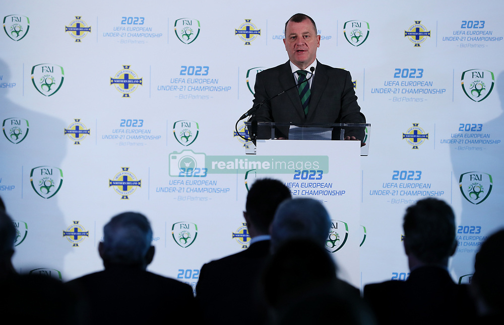 Irish FA Chief Executive Patrick Nelson during the announcement at Windsor Park, Belfast, that the FAI & IFA will perform a joint bid for the 2023 UEFA U21 Championship.