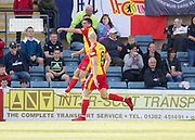 12th May 2018, Dens Park, Dundee, Scotland; Scottish Premier League football, Dundee versus Partick Thistle; Kris Doolan of Partick Thistle celebrates after scoring for 1-0