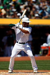OAKLAND, CA - AUGUST 25: Marcus Semien #10 of the Oakland Athletics at bat against the San Francisco Giants during the first inning at the RingCentral Coliseum on August 25, 2019 in Oakland, California. The San Francisco Giants defeated the Oakland Athletics 5-4. Teams are wearing special color schemed uniforms with players choosing nicknames to display for Players' Weekend. (Photo by Jason O. Watson/Getty Images) *** Local Caption *** Marcus Semien