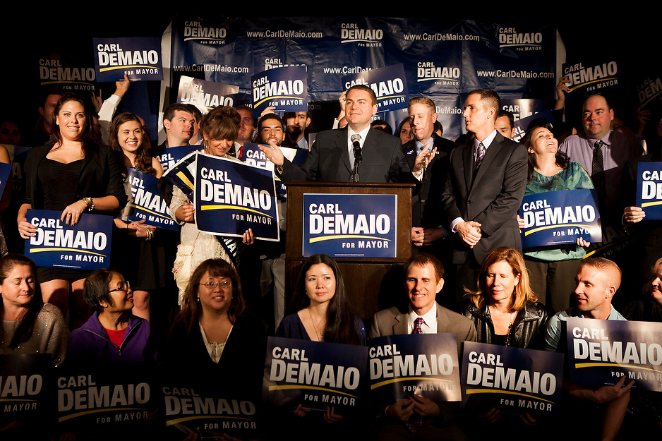 Mayoral candidate Carl DeMaio addresses supporters at the U.S. Grant Hotel.