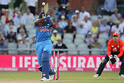 KL Rahul takes a bouncer during the International T20 match between England and India at Old Trafford, Manchester, England on 3 July 2018. Picture by George Franks.
