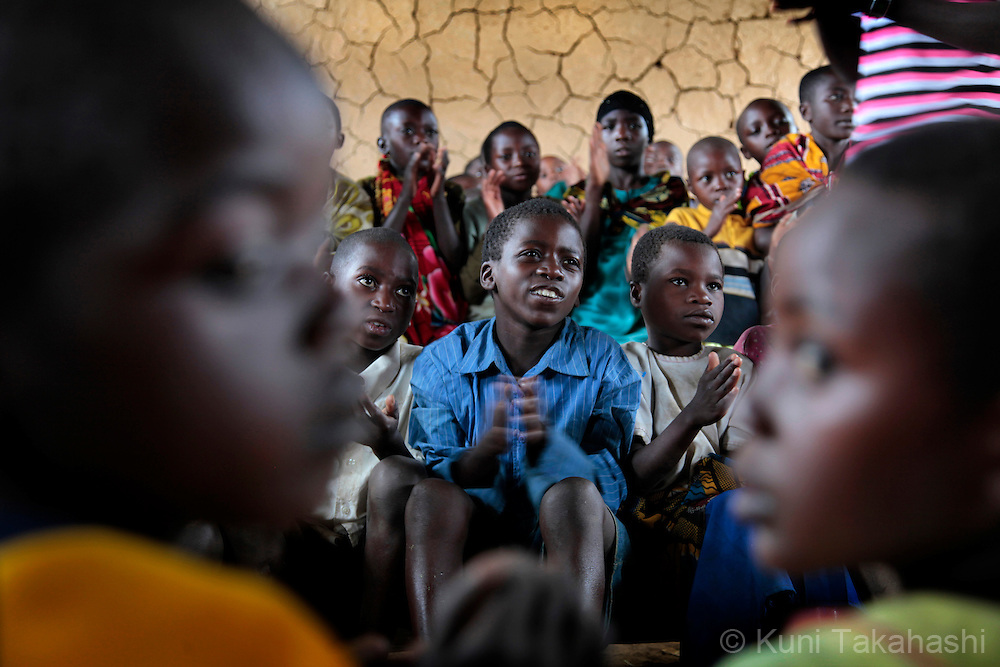 Children at school in Mpati IDP camp, about 100 km northwest of Goma, DRC on April 23, 2010. The long war had involved 9 African nations and claimed an estimated three million lives as a result of fighting or disease and malnutrition..Photo by Kuni Takahashi