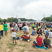 "Large crowds on Washington DC's National Mall at the commemoration of the 50th anniversary of the 1963 March on Washington famously remembered for civil right leader Martin Luther King Jr's ""I Have a Dream"" speech."