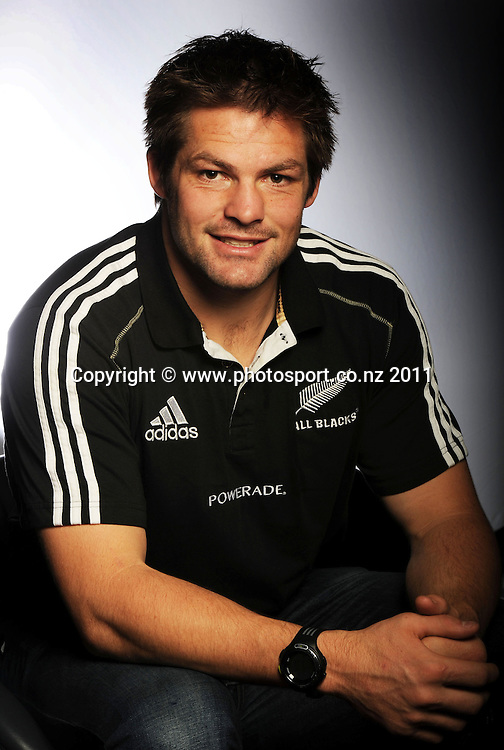 Captain Richie McCaw. All Blacks photoshoot and portrait session at the Sky CIty Grand Hotel  in Auckland before the All Blacks depart for South Africa. Thursday 11 August 2011. Photo: Andrew Cornaga/photosport.co.nz