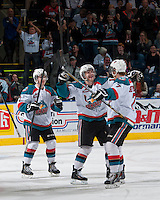 KELOWNA, CANADA - APRIL 3:  on April 3, 2014 during Game 1 of the second round of WHL Playoffs at Prospera Place in Kelowna, British Columbia, Canada.   (Photo by Marissa Baecker/Getty Images)  *** Local Caption ***