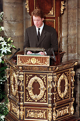 Earl Spencer delivers his address to the congregation inside Westminster Abbey this morning (Saturday) during the funeral service for his sister, Diana, Princess od Wales.