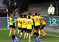 Craig Dawson of Watford celebrates the equalising goal with his teammates  during the Premier League match at Vicarage Road, Watford. Picture date: 20th June 2020. Picture credit should read: Darren Staples/Sportimage
