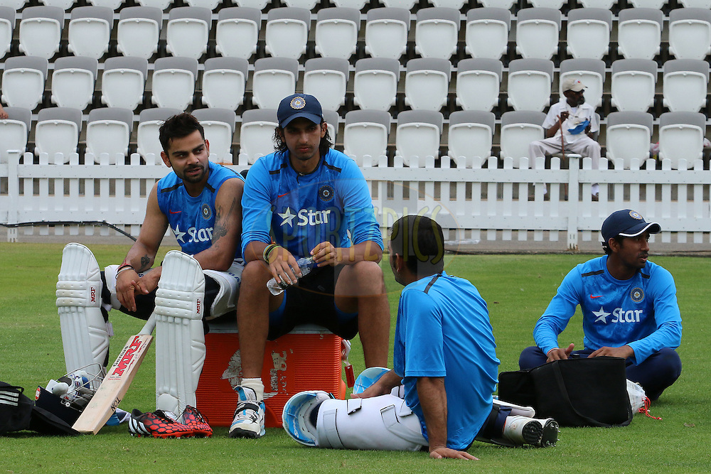 Virat Kohli of India, Ishant Sharma of India and Mahendra Singh Dhoni captain of India during the Indian practice session held at Lords prior to the 2nd Investec test match between England and India held at Lords cricket ground in London, England on the 16th July 2014<br /> <br /> Photo by Ron Gaunt / SPORTZPICS/ BCCI