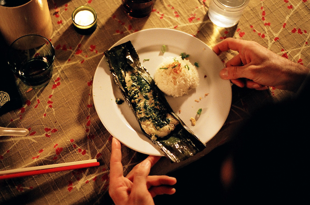 Asian Fusion Cuisine Dinner Party Food - Banana Leaf Fish, Sticky Rice.