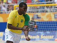 Football-FIFA Beach Soccer World Cup 2006 - Semi-final -BRA_POR -To celebrate his goal, Bueno-BRA-shouts that Beach Soccer is in his vains - Rio de Janeiro - Brazil 11/11/2006<br />Mandatory credit: FIFA/ Marco Antonio Rezende.