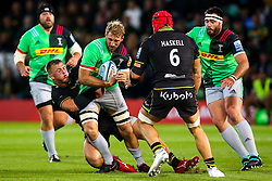 Chris Robshaw of Harlequins is tacked by Alex Waller of Northampton Saints - Mandatory by-line: Robbie Stephenson/JMP - 07/09/2018 - RUGBY - Franklin's Gardens - Northampton, England - Northampton Saints v Harlequins - Gallagher Premiership