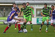 Forest Green Rovers Christian Doidge(9) runs forward during the EFL Sky Bet League 2 match between Forest Green Rovers and Exeter City at the New Lawn, Forest Green, United Kingdom on 9 September 2017. Photo by Shane Healey.