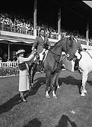 The Dublin Horse Show.1982.07.08.1982.08.07.1982.7th August 1982...The Dublin Horse Show..R.D.S., Ballsbridge, Dublin.The winners of the Aga Khan team trophy were Great Britain. The shows' leading rider was Mr Harvey Smith, Great Britain..In picture Mr Harvey Smith accepts his team award from Mrs Hely Hutchinson.