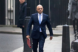 © Licensed to London News Pictures. 09/01/2018. London, UK. Housing, Communities and Local Government Secretary Sajid Javid leaving Downing Street after attending a Cabinet meeting this morning. Yesterday British Prime Minister Theresa May reshuffled her cabinet, appointing some new ministers. Photo credit : Tom Nicholson/LNP