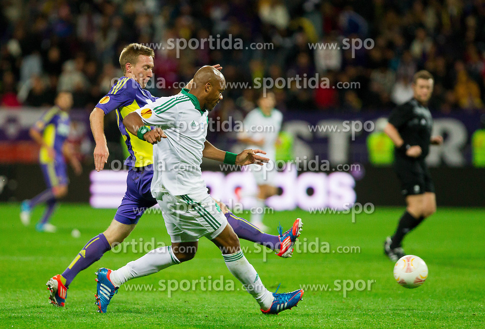 Robert Beric of NK Maribor vs Jean-Alain Boumsong of Panathinaikos during football match between NK Maribor and Panathinaikos Athens F.C. (GRE) in 1st Round of Group Stage of UEFA Europa league 2013, on September 20, 2012 in Stadium Ljudski vrt, Maribor, Slovenia. (Photo By Vid Ponikvar / Sportida)