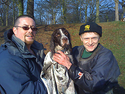 LIVERPOOL, ENGLAND - Tuesday, February 19, 2008: Dog owner Mike is relieved to be re-united with Louis, after his pet Springer Spaniel was rescued by Jon Warren, 52 of Glendale, from the frozen Sefton Park Boating Lake. (Pic by David Rawcliffe/Propaganda)