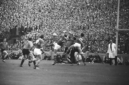 All Ireland Senior Football Championship Final, Kerry v Down, 22.09.1968, 09.22.1968, 22nd September 1968, Down 2-12 Kerry 1-13, Referee M Loftus (Mayo)..Kerry attack which went wide, .