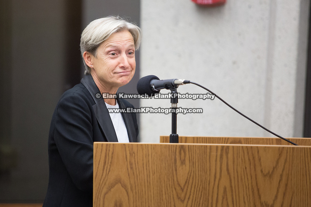 """Professor Judith Butler is seen at the """"If Not Now, When?"""" conference put on by Open Hillel at Harvard University on October 11, 2014 in Cambridge, Massachusetts. (Photo by Elan Kawesch/The Times of Israel)"""