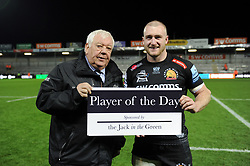 Tony Rowe with Exeter Chiefs Player of the Day Stuart Hogg - Mandatory byline: Patrick Khachfe/JMP - 07966 386802 - 10/11/2019 - RUGBY UNION - Sandy Park - Exeter, England - Exeter Chiefs v Bristol Bears - Gallagher Premiership