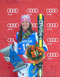 29.12.2014, Hohe Mut, Kühtai, AUT, FIS Ski Weltcup, Kühtai, Slalom, Damen, Siegerehrung, im Bild dritte Wendy Holdener (SUI) // third placed Wendy Holdener of Switzerland celebrates on Podium during the award ceremony after Ladies Giant Slalom of the Kuehtai FIS Ski Alpine World Cup at the Hohe Mut Course in Kuehtai, Austria on 2014/12/29. EXPA Pictures © 2014, PhotoCredit: EXPA/ Erich Spiess