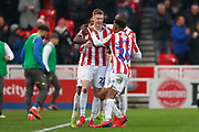 Stoke City midfielder Sam Clucas (22) scores a goal and celebrates to make the score 1-0 during the EFL Sky Bet Championship match between Stoke City and Leeds United at the Bet365 Stadium, Stoke-on-Trent, England on 19 January 2019.