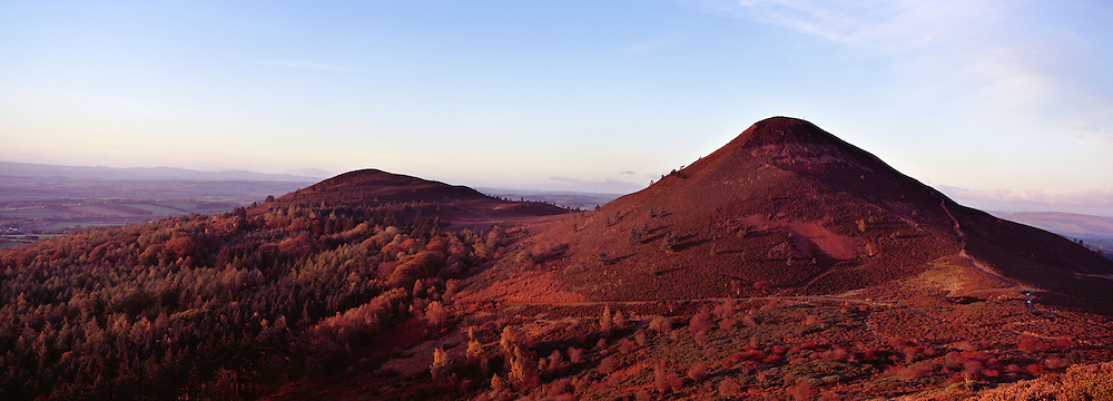 Panoramic photograph of The Eildons, Melrose.