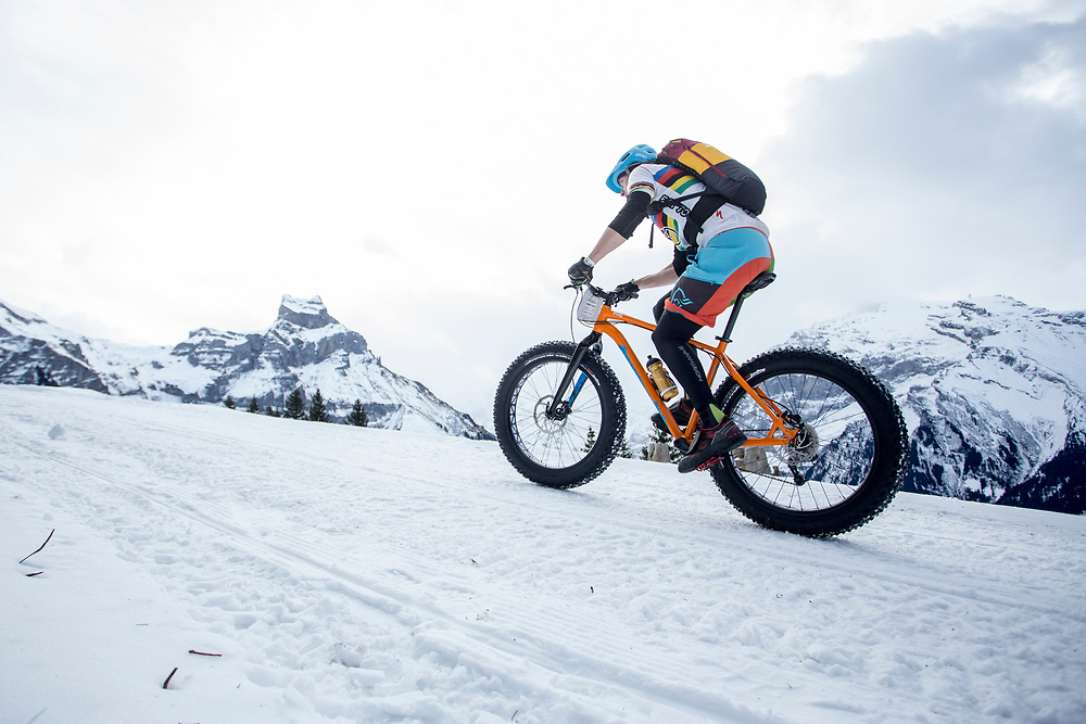 A Rider climbs up towards Brunni Hutte during stage 2 and 3 of the first Snow Epic, the ascent and decent of Brunni H&uuml;tte near Engelberg, in the heart of the Swiss Alps, Switzerland on the 16th January 2015<br /> <br /> Photo by:  Nick Muzik / Snow Epic / SPORTZPICS