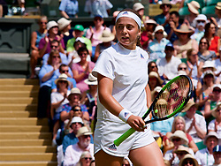 LONDON, ENGLAND - Thursday, July 12, 2018: Jelena Ostapenko (LAT) during the Ladies' Singles Semi-Final match on day ten of the Wimbledon Lawn Tennis Championships at the All England Lawn Tennis and Croquet Club. (Pic by Kirsten Holst/Propaganda)