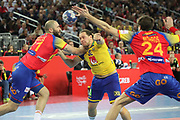 Joan Canellas, Viran Morros (Spain) and Mattias Zachrisson (Sweden) during the EHF 2018 Men's European Championship, Final Handball match between Spain and Sweden on January 28, 2018 at the Arena in Zagreb, Croatia - Photo Laurent Lairys / ProSportsImages / DPPI
