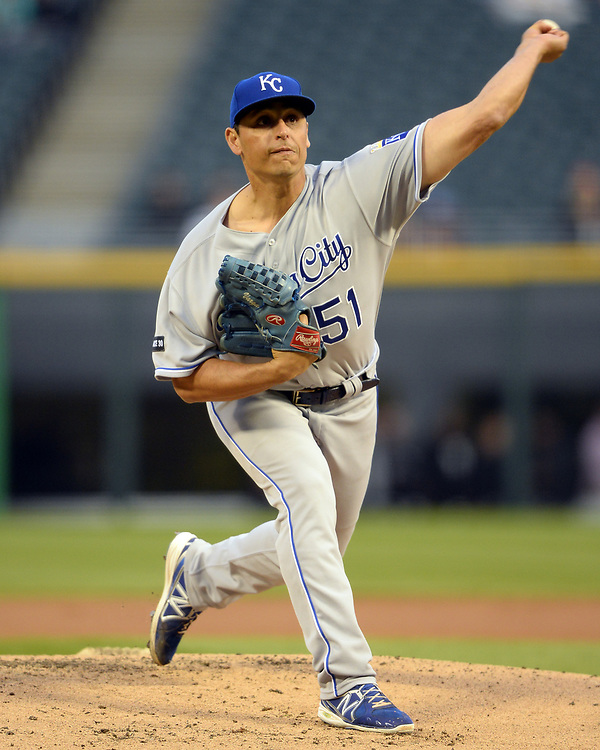 CHICAGO - APRIL 24:  Jason Vargas #51 of the Kansas City Royals pitches against the Chicago White Sox on April 24, 2017 at Guaranteed Rate Field in Chicago, Illinois.  The White Sox defeated the Royals 12-1.  (Photo by Ron Vesely)   Subject:  Player Jason Vargas