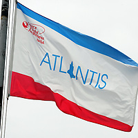 The flight flag for Space Shuttle Atlantis blows in the wind at the Kennedy Space Center Friday, July 8, 2011, in Cape Canaveral, Fla. Shuttle Atlantis is the135th and final space shuttle launch for NASA..  (AP Photo/Alex Menendez)