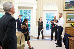 President Barack Obama discusses the Iran nuclear agreement, with from left, Chief of Staff Denis McDonough, Jeffrey Prescott, Senior Director for Iran, Iraq, Syria, and the Gulf States, National Security Advisor Susan E. Rice, Avril Haines, Deputy National Security Advisor Counterterrorism and Ben Rhodes, Deputy National Security Advisor for Strategic Communications, in the Oval Office, July 13, 2015. (Official White House Photo by Pete Souza)<br /> <br /> This official White House photograph is being made available only for publication by news organizations and/or for personal use printing by the subject(s) of the photograph. The photograph may not be manipulated in any way and may not be used in commercial or political materials, advertisements, emails, products, promotions that in any way suggests approval or endorsement of the President, the First Family, or the White House.