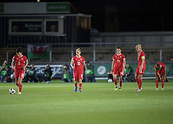 NEWPORT, WALES - Thursday, August 30, 2018: Wales players look dejected as England score their second during the FIFA Women's World Cup 2019 Qualifying Round Group 1 match between Wales and England at Rodney Parade. (Pic by Laura Malkin/Propaganda)