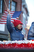 US Olympic Biathelete Haley Johnson waves to the crowd at a celebratory parade honoring North Country Winter Olympic Athletes in Saranac Lake, NY. (Photo/Todd Bissonette - http://www.rtbphoto.com