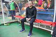 Forest Green Rovers manager, Mark Cooper watches the warm up from the technical area during the Vanarama National League match between York City and Forest Green Rovers at Bootham Crescent, York, England on 29 April 2017. Photo by Shane Healey.