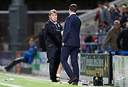 Stuart McCall Bradford City's First Team Manager and Gary Caldwell Manager of Chesterfield shake hands at full time  during the EFL Trophy match between Chesterfield and Bradford City at the b2net stadium, Chesterfield, England on 29 August 2017. Photo by Paul Thompson.