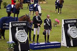 Delaveau Patrice (FRA)  winner of the Grand Prix Longines de la Ville de La Baule, second Frank Schuttert (NED)<br /> CSIO La Baule 2013<br /> © Dirk Caremans