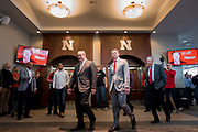 Lincoln, NE - DEC 3:  Scott Frost and Bill Moos address the media at a press conference announcing Frost as the 30th football Husker coach at Memorial Stadium in Lincoln Nebraska December 3, 2017. Photo by Eric Francis