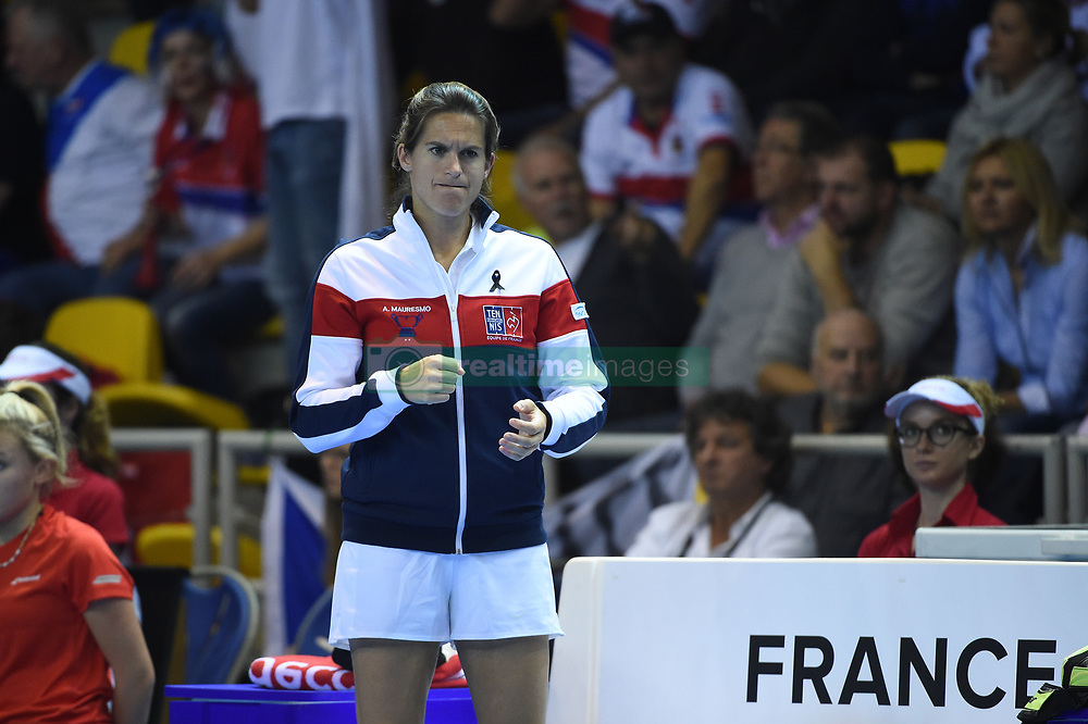French Fed Cup captain Amelie Mauresmo during day1 at the final round tie against Czech Republic at the Rhenus Arena, Strasbourg, France on november, 12, 2016. Photo by Corinne Dubreuil/ABACAPRESS.COM