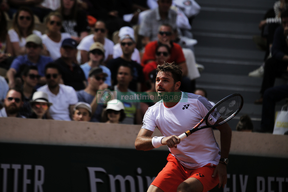 May 27, 2019 - Paris, France - Stan Wawrinka during mens singles first round match between Jozef Kovalik and Stan Wawrinka of Switzerland during Day two of the 2019 French Open at Roland Garros on May 27, 2019 in Paris, France. (Credit Image: © Ibrahim Ezzat/NurPhoto via ZUMA Press)
