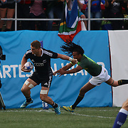 Scott Curry scored New Zealands only try in the first half of the Cup Final in the All Black 7's loss to South Africa 7-14 at the USA Sevens, Sam Boyd Stadium, Las Vegas, Nevada.  Photo by Barry Markowitz, Courtesy STP/TriMarine, 1/26/14, 4pm