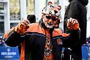 A Cincinnati Bengals fan, wearing full team colours face paint during the International Series match between Los Angeles Rams and Cincinnati Bengals at Wembley Stadium, London, England on 27 October 2019.