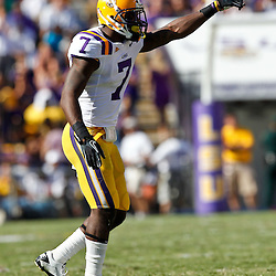 Oct 2, 2010; Baton Rouge, LA, USA; LSU Tigers cornerback Patrick Peterson (7) on the field against the Tennessee Volunteers during the second half at Tiger Stadium. LSU defeated Tennessee 16-14.  Mandatory Credit: Derick E. Hingle