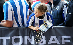 A Huddersfield Town fan awaits the arrival of the players with an autograph book - Mandatory by-line: Matt McNulty/JMP - 26/08/2017 - FOOTBALL - The John Smith's Stadium - Huddersfield, England - Huddersfield Town v Southampton - Premier League