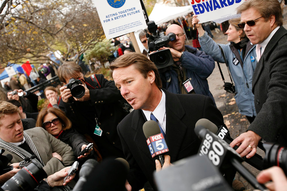 Presidential candidate John Edwards speaking to the press at Washington Square Park in Manhattan