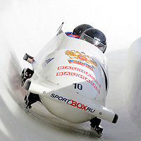28 February 2007:      The Russia 2 bobsled driven by Dmitry Abramovitch with sidepushers Philipp Egorov and Alexey Seliverstov, and brakeman Petr Moiseev goes through turn 19 in the 1st run at the 4-Man World Championships competition on February 27 at the Olympic Sports Complex in Lake Placid, NY.