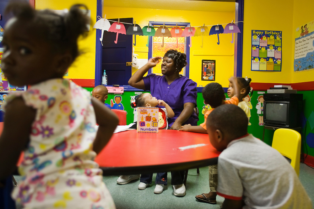 Ms. Katherine Clark leads children under her care in a round of songs at the New Covenant House Christian Daycare Center in Clarksdale, Miss., May 15, 2007.<br /> Photo by D.L. Anderson