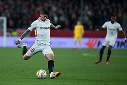 December 13, 2018 - Seville, Andalucia, Spain - Ever Banega of Sevilla FC kick during the Europa League match between Sevilla FC and Krasnodar in Ramón Sánchez Pizjuán Stadium (Seville) (Credit Image: © Javier MontañO/Pacific Press via ZUMA Wire)